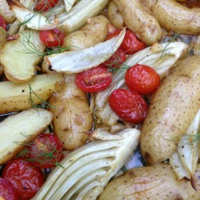 Roasted Fennel and Potatoes with Tomatoes